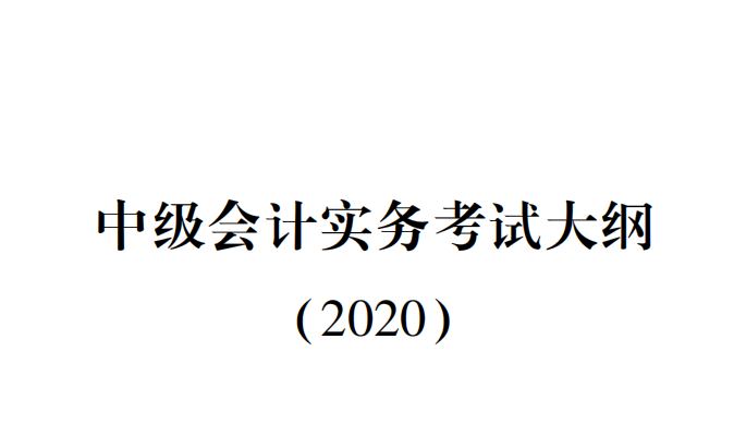 2020年中级会计考试大纲 PDF版