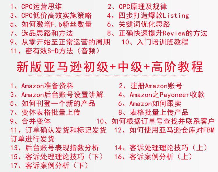跨境电商亚马逊运营教程视频外贸Amazon店铺开店注册电商训培课程